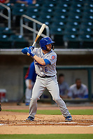Tennessee Smokies second baseman Trent Giambrone (6) at bat during a game against the Birmingham Barons on August 16, 2018 at Regions FIeld in Birmingham, Alabama.  Tennessee defeated Birmingham 11-1.  (Mike Janes/Four Seam Images)