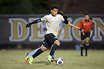 Brandon Servania (8) of the Wake Forest Demon Deacons keeps the ball away from Danny Laranetto (16) of the Columbia Lions during first half action in the second round of the 2017 NCAA Men's Soccer Championship at Spry Soccer Stadium on November 19, 2017 in Winston-Salem, North Carolina.  The Demon Deacons defeated the Lions 1-0.  (Brian Westerholt/Sports On Film)