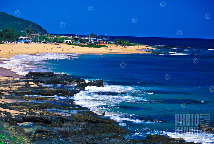 Beautiful coastal view of sandy beach on eastern Oahu