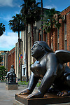 The Museum of Antioquia houses  antiquities and art from the province of Antioquia in Plaza Botero.  The sculptures 'The Sphinx' and 'Rapto de Europa' stand in front of the museum and are the work of Medellin's native son, Fernando Botero, and Colombia's most famous artist.  Plaza Botero holds 23 of his over-exaggerated sculptures, a style he is famous for.