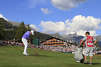 Matthew Fitzpatrick (ENG) plays his 2nd shot on the 18th hole during Sunday's Final Round 4 of the 2018 Omega European Masters, held at the Golf Club Crans-Sur-Sierre, Crans Montana, Switzerland. 9th September 2018.<br /> Picture: Eoin Clarke | Golffile<br /> <br /> <br /> All photos usage must carry mandatory copyright credit (&copy; Golffile | Eoin Clarke)
