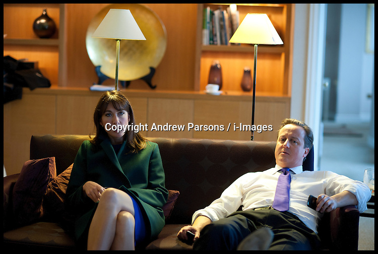 British Prime Minister David Cameron with his wife Samantha Cameron  after his speech to delegates on the last day of the Conservative party conference, International Convention Centre, October 10, 2012, Birmingham, England. Photo by Andrew Parsons / i-Images.
