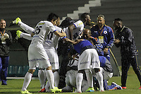 TUNJA -COLOMBIA, 24-09-2015. Jonathan Gomez (C) de Deportivo Pasto celebra un gol anotado a Patriotas FC durante partido por la fecha 11 de la Liga Águila II 2015 realizado en el estadio La Independencia en Tunja./ Jonathan Gomez (C) of Deportivo Pasto celebrates a goal scored to Patriotas FC during match for the date 11 of Aguila League II 2015 at La Independencia stadium in Tunja. Photo: VizzorImage/César Melgarejo/STR