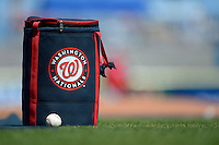 Washington Nationals ball bag on the field before a Spring Training game against the Philadelphia Phillies at Bright House Field on March 6, 2013 in Clearwater, Florida.  Philadelphia defeated Washington 6-3.  (Mike Janes/Four Seam Images)