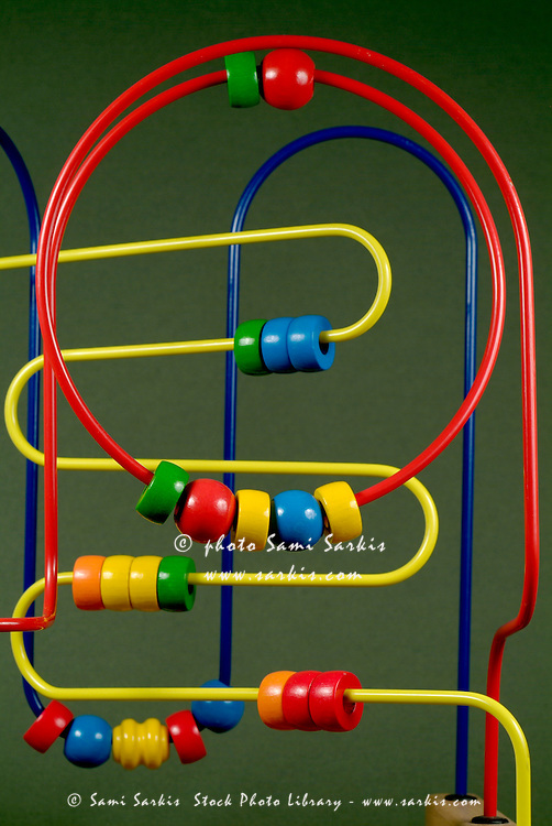 Colourful toy abacus with bright beads.