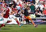Leon Clarke of Sheffield Utd scores his goal during the English League One match at Sixfields Stadium Stadium, Northampton. Picture date: April 8th 2017. Pic credit should read: Simon Bellis/Sportimage