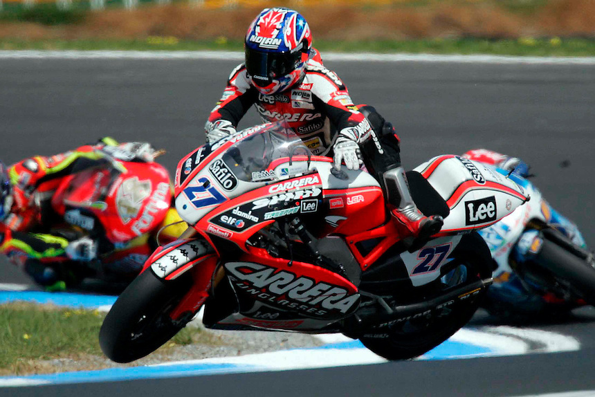 Australian Motorcycle Grand Prix at Phillip island. Casey Stoner crashes out of the 250cc race.