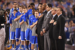 07 April 2014: The University of Kentucky watches during the National Anthem against the University of Connecticut during the 2014 NCAA Men's DI Basketball Final Four Championship at AT&T Stadium in Arlington, TX. Connecticut defeated Kentucky 60-54 to win the national title. Peter Lockley/NCAA Photos