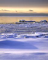 WI45E49 Newport Bay, Lake Michigan, in winter with snow. Newport Bay State Park, Wisconsin.