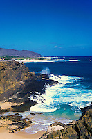 "Blowhole on Oahu's east coast spouts water near Halona Cove, """"Here To Eternity"""" beach"