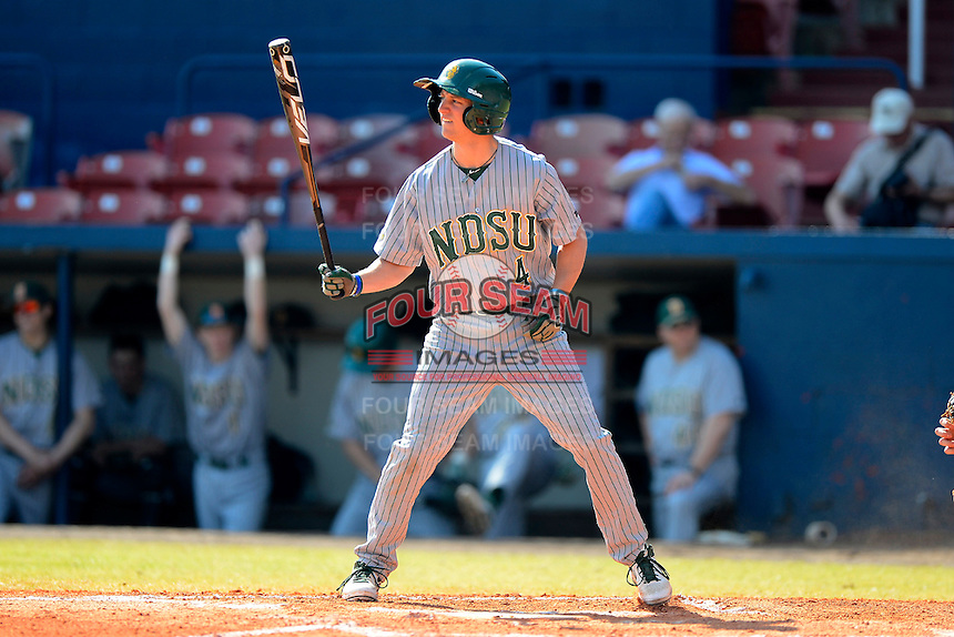 North Dakota State Bison outfielder Tate Leapaidt (4) during a game against the Bowling Green Falcons at Chain of Lakes Stadium on March 9, 2013 in Winter Haven, Florida.  NDSU defeated Bowling Green 8-5.  (Mike Janes/Four Seam Images)