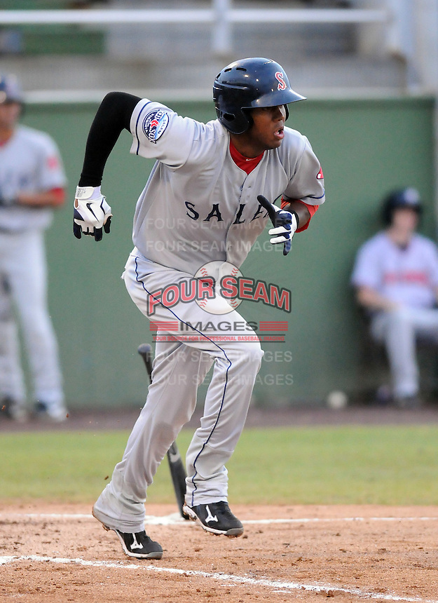 Infielder Michael Almanzar (25) of the Salem Red Sox, Carolina League affiliate of the Boston Red Sox, in a game against the Potomac Nationals on June 16, 2011, at Pfitzner Stadium in Woodbridge, Va. (Tom Priddy/Four Seam Images)