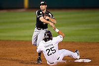 Eric Charles (2) of the Purdue Boilermakers turns a double play as Brock Chaffin (25) of the Missouri State Bears during a game against the Missouri State Bears at Hammons Field on March 13, 2012 in Springfield, Missouri. (David Welker / Four Seam Images)