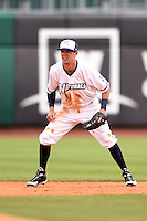 NW Arkansas Naturals shortstop Logan Davis (4) during a game against the Corpus Christi Hooks on May 26, 2014 at Arvest Ballpark in Springdale, Arkansas.  NW Arkansas defeated Corpus Christi 5-3.  (Mike Janes/Four Seam Images)