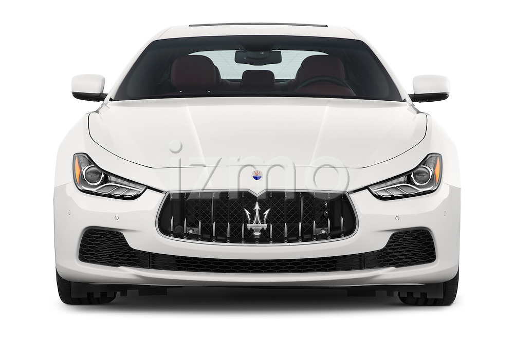 Car photography straight front view of a 2014 Maserati Ghibli Base 4 Door Sedan Front View