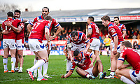Picture by Alex Whitehead/SWpix.com - 12/03/2017 - Rugby League - Betfred Super League - Wakefield Trinity v Salford Red Devils - Beaumont Legal Stadium, Wakefield, England - Wakefield players celebrate the win.