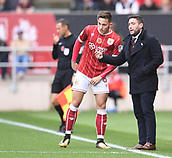 4th November 2017, Ashton Gate, Bristol, England; EFL Championship football, Bristol City versus Cardiff City; Lee Johnson Manager for Bristol City gives instruction to Josh Brownhill of Bristol City