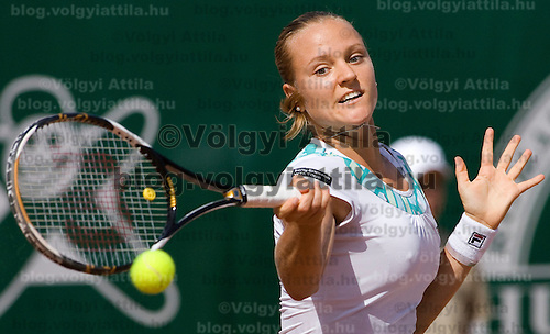 Agnes Szavay (HUN, pictured) playing a winning match against Patty Schnyder (CHE) during the final of the Gaz de France Suez WTA tour Grand Prix international women tennis competition held at Roman Tennis Academy in Budapest, Hungary. Sunday, 12. July 2009. ATTILA VOLGYI