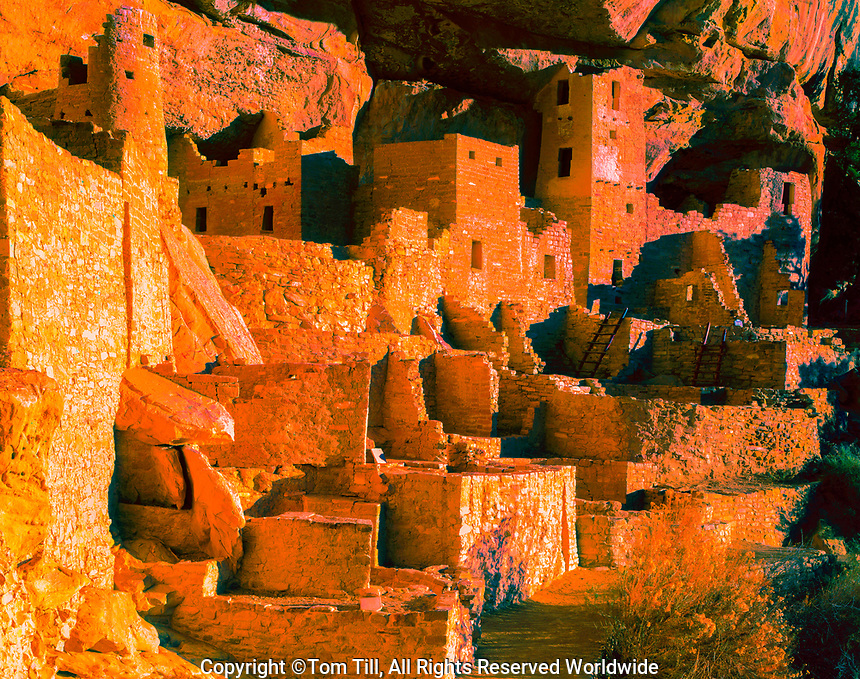 Cliff Palace is winter solstice light, Mesa Verde National park, Colorado, Ancient Native American Cliff Dwellings