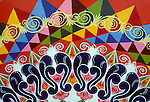 Traditional hand painted designs on wooden oxcart, Sarchi, Alajuela Province, Costa Rica, Central America