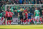 13.04.2019, Weser Stadion, Bremen, GER, 1.FBL, Werder Bremen vs SC Freiburg, <br /> <br /> DFL REGULATIONS PROHIBIT ANY USE OF PHOTOGRAPHS AS IMAGE SEQUENCES AND/OR QUASI-VIDEO.<br /> <br />  im Bild<br /> Kopfball Milos Veljkovic (Werder Bremen #13) <br /> Ludwig Augustinsson (Werder Bremen #05)<br /> Alexander Schwolow (SC Freiburg #01)<br /> Jerome Gondorf (SC Freiburg #20)<br /> Vincenzo Grifo (SC Freiburg #32)<br /> <br /> <br /> Foto © nordphoto / Kokenge