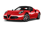 Stock pictures of low aggressive front three quarter view of 2016 Alfaromeo 4C - 2 Door Convertible Low Aggressive