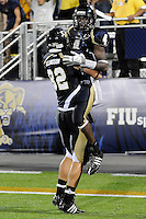 11 October 2008:  FIU wide receiver T.Y. Hilton (4) celebrates with wide receiver Greg Ellingson (82) after scoring a touchdown in the FIU 31-21 victory over Middle Tennessee at FIU Stadium in Miami, Florida.
