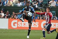 Khari Stephenson (7) controls the ball against Jorge Flores (19). Chivas USA defeated the San Jose Earthquakes 2-1 at Buck Shaw Stadium in Santa Clara, California on April 23rd, 2011.