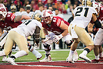 Wisconsin Badgers offensive lineman Michael Deiter (63) during an NCAA College Big Ten Conference football game against the Purdue Boilermakers Saturday, October 14, 2017, in Madison, Wis. The Badgers won 17-9. (Photo by David Stluka)