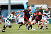Josh Lewis of the Dragons takes on the Ealing Trailfinders defence. Pre-season friendly match, between Ealing Trailfinders and the Dragons on August 11, 2018 at the Trailfinders Sports Ground in London, England. Photo by: Patrick Khachfe / Onside Images