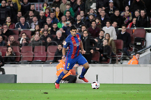 11.01.2017, Nou Camp, Barcelona, Spain. Copa del Rey, 2nd leg. FC. Barcelona versus Athletico Bilbao. Suarez in action during the match