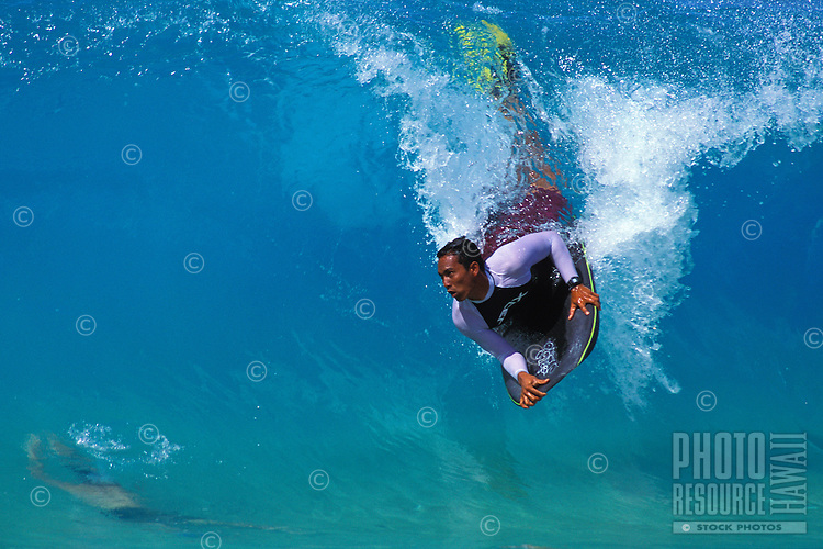 Body boarding at sandys beach on Oahu