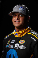 Feb 10, 2016; Pomona, CA, USA; NHRA funny car driver Matt Hagan poses for a portrait during media day at Auto Club Raceway at Pomona. Mandatory Credit: Mark J. Rebilas-USA TODAY Sports