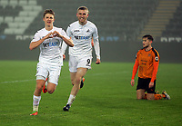 Pictured: (L-R) George Byers of Swansea City celebrates his goal with co-scorer Oliver McBurnie Monday 13 March 2017<br /> Re: Premier League 2, Swansea City U23 v Wolverhampton Wanderers FC at the Liberty Stadium, Swansea, UK