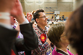 Supporters cheer as Labour MP Frank Dobson holds Holborn & St.Pancras in the 2010 General Election.