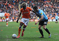 Blackpool's Armand Gnanduillet under pressure from Southend United's Harry Lennon<br /> <br /> Photographer Kevin Barnes/CameraSport<br /> <br /> The EFL Sky Bet League One - Blackpool v Southend United - Saturday 9th March 2019 - Bloomfield Road - Blackpool<br /> <br /> World Copyright © 2019 CameraSport. All rights reserved. 43 Linden Ave. Countesthorpe. Leicester. England. LE8 5PG - Tel: +44 (0) 116 277 4147 - admin@camerasport.com - www.camerasport.com