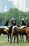 (Center) Nacho Figueras (Caption of the Black Watch team) competing at the 3rd Annual Veuve Clicquot Polo Classic on Governors Island on June 27, 2010.