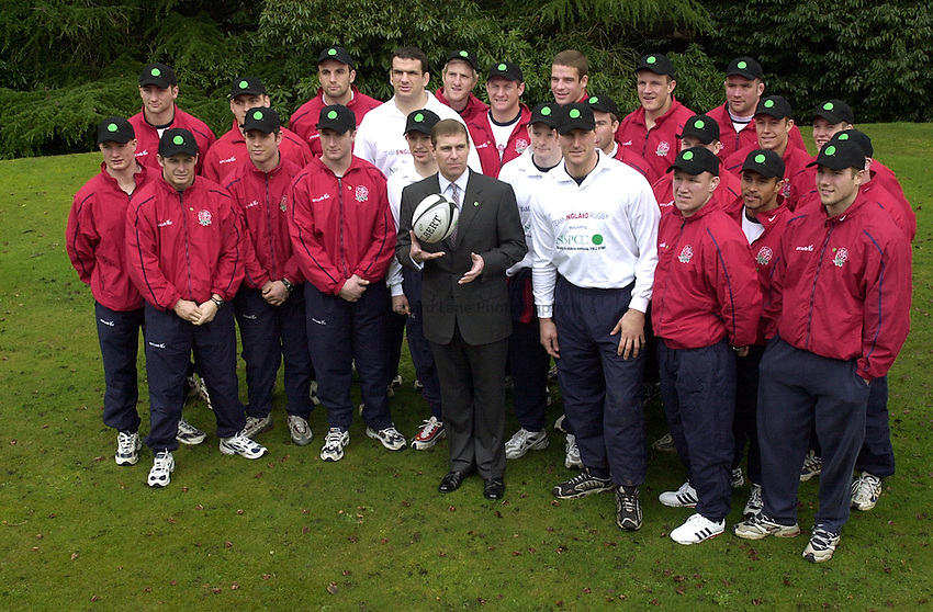 Photo:Ken Brown .27.2.2001 England Press Conference to announce the team for the Scotland game at Pennyhill Park Bagshot Surrey.HRH Prince Andrew comes to meet the England team as they adopt the NSPCC as their offical charity