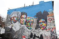 NOVA YORK, EUA - 30.11.2018 - ARTE-NOVA YORK - Mural Andy Warhol, Frida Kahlo, Keith Haring and Jean Michel Bastiquiat do artista brasileiro Eduardo Kobra é visto na Ilha de Manhattan em Nova York (Foto Vanessa Carvalho / Brazil Photo Press)