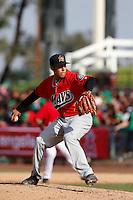 Bobby Shore #18 of the High Desert Mavericks pitches against the Inland Empire 66'ers at San Manuel Stadium on April 8, 2013 in San Bernardino, California. Inland Empire defeated High Desert, 6-2. (Larry Goren/Four Seam Images)