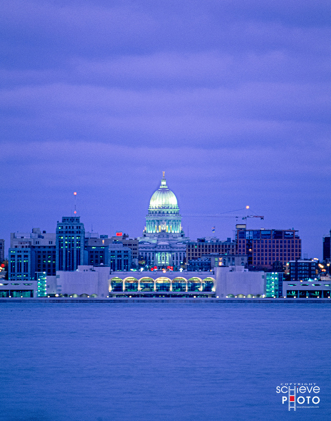 The Madison, Wisconsin skyline from Lake Monona.
