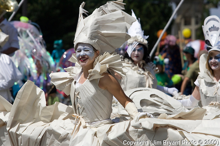 Performers dance during the 21st  Annual Fremont Summer Solstice Parade in Seattle on June 21, 2009.  The parade was held Saturday, bringing out painted and naked bicyclists, bands, belly dancers and floats. (Jim Bryant Photo © 2009)