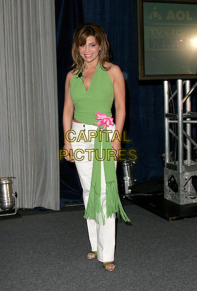 Paula Abdul  .Announce the Nominees for the AOL TV's Top 5 Viewer Awards held at The Pacific Design Center in West Hollywood, .California on July 14th 2004..full length green halterneck top pink flower white trousers.Ref: DVS.www.capitalpictures.com.sales@capitalpictures.com.©Capital Pictures.