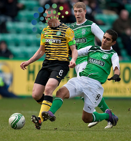 Hibernian v Celtic  SPL season 2011-2012 ..Jorge Claros tackels Scott Brown during the Clydesdale Bank Premier League match between Hibernian v Celtic at Easter Road Stadium on 19 February 2012...Picture: Alan Rennie/Universal News and Sport (Scotland).