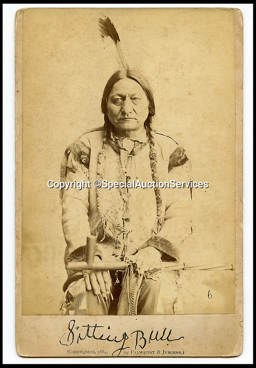 "BNPS.co.uk (01202 558833)<br /> Pic: SpecialAuctionServices/BNPS<br /> <br /> *Please use full byline*<br /> <br /> Sitting Bull.<br /> <br /> Poignant insight into a lost world...<br /> <br /> An important collection of Native American Images - including a portrait of the famous Sitting Bull - will be offered in the Photographica sale on Thursday 23rd October and is expected to fetch over £10,000.<br /> <br /> The photographs were collected by the vendor's great grandfather during his travels to America. He first journeyed to North America in 1862 to find out more about Native Indians and subsequently returned in 1866, 1874 and several times after that. The first three trips are described in a book that he wrote and published in 1890 entitled Sport and Adventures amongst the North American Indians.<br /> <br /> The collection comprises 127 images taken by pioneering photographers including American government photographer John Karl Hillers (1843- 1925) and explorer and painter William. H. Jackson. It contains portraits as well as scenes of family and working life that provide a real insight into everyday living in the 1870s – 1880s. Estimates for the group lots range from £100 to £5,000.<br /> <br /> The photographs were taken using the latest technology of the time; the invention of dry-plate made it possible for photographers to go into the wilds of native USA and document everyday life; and the use of traditional stereoscopic photography means the subjects in the portrait shots appear 3-Dimensional. <br /> <br /> Hugo Marsh, Head of Photographica says: ""This collection of photographs provides us with a greater understanding and a terrific insight into the lives of Native American Indians of the time. It is rare to see a large collection in such good condition."""
