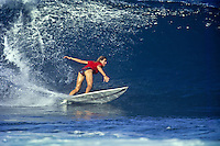 1990 Women's  World Professional Surfing Champion PAM BURRIDGE (AUS) surfing at Rocky Point, North Shore, Oahu, Hawaii. circa 1993. Photo:joliphotos.com