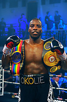 Lawrence Okolie (black shorts) defeats Luke Watkins during a Boxing Show at York Hall on 6th June 2018