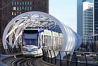 Nederland - Den Haag -  Februari 2019.  Den Haag. Randstadrail  in het Beatrixkwartier.  Foto Berlinda van Dam / Hollandse Hoogte