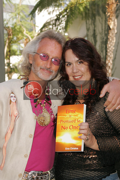 "Author and Co-Director Eros Christos wearing ""Clothing Art"" by Conchita Amata with Jewelry Designer and Co-Star Fileena Bahris<br />