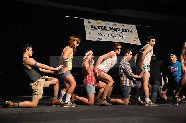 "Members of Kappa Sigma perform the fraternity's theme, ""Battle of the Sexes,"" during Greek Sing 2012 at Memorial Coliseum in Lexington, Ky., on Saturday, Feb. 11, 2012. Photo by Taylor Moak 